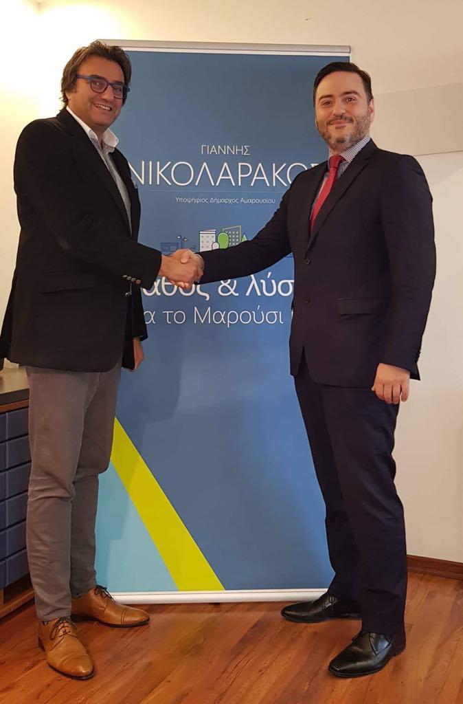 Ο Γιάννης Νικολαράκος με τον Βασίλη Μπέκα